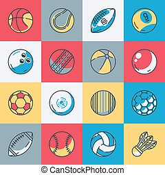 desporto, jogo, bolas, ícones
