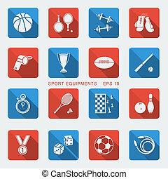 desporto, jogo, equipments, apartamento, design.