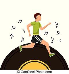 desporto, nota, executando, música, vinil, disco, homem