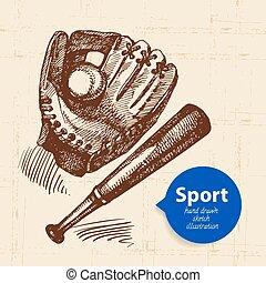 desporto, object., ilustração, basebol, vetorial, esboço, mão, desenhado