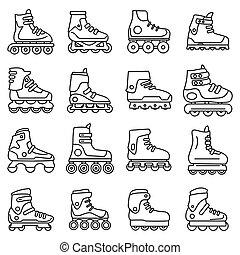 desporto, patins, inline, jogo, esboço, estilo, ícones
