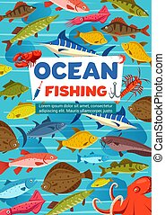 desporto, peixe, polvo, pesca, oceânicos