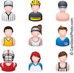 desporto, -, pessoas, ícones