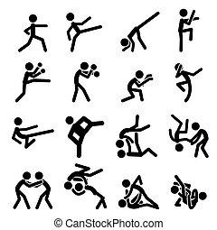 desporto, pictograma, ícone, artes marciais