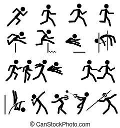 desporto, pictograma, trilha campo
