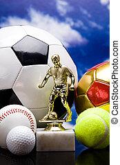 desporto, theme!, bolas, e, outro, desporto