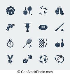 desporto, vetorial, equipments, apartamento, design.