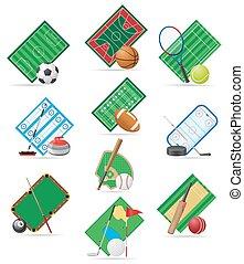 desporto, vetorial, jogo, ilustração, ícones