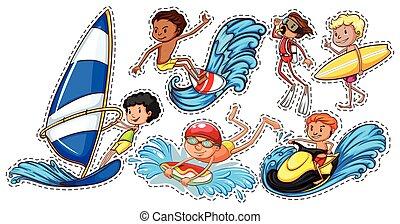 desportos aquáticos, adesivo, jogo, pessoas