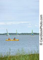 desportos aquáticos, ligado, um, lago