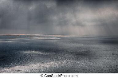 después, mar, tormenta de la lluvia