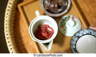 dessert., традиционный, ceremony., чай, goji, китайский,...