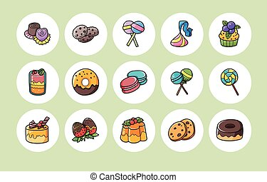 Dessert and sweets icons set,eps10