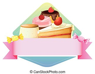 Dessert - Banner template with different kind of dessert...