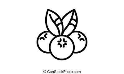 Dessert bilberry icon animation outline best object on white background