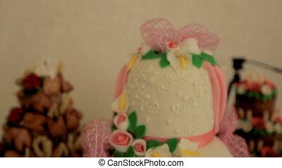 Dessert Buffet. Wedding cake on a buffet table