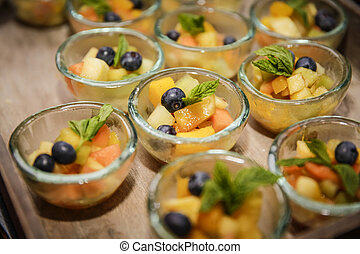 Dessert buffet with fruit salad