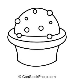 Dessert cake icon in outline style vector illustration for design and web