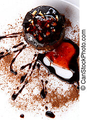 dessert cake with chocolate and jam - a dessert cake with...