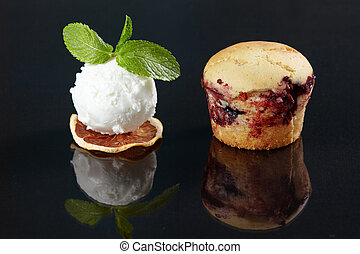 dessert cake with ice cream