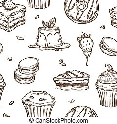 Dessert cakes vector sketch pattern background - Cakes and...