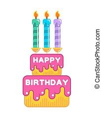 dessert, candles., zoetigheden, cake., jarig, room, vrolijke