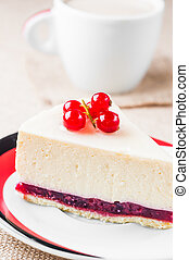 Dessert - Cheesecake with Berries red currant and coffee
