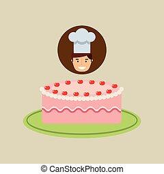 dessert, chef cuistot, fraise, délicieux, gâteau, dessin animé, crème