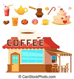 Dessert Coffeeshop Infographic Composition - Isolated coffee...