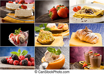 Dessert - Collage - set of different dessert photos arranged...