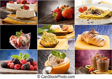Dessert - Collage - set of different dessert photos arranged...