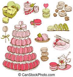 dessert, -, collection, main, vecteur, conception, macarons,...