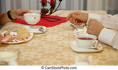 Dessert - Couple Eating Desert in a restaurant