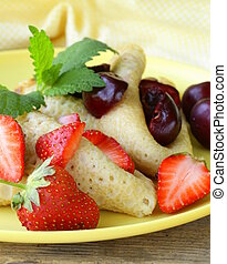 dessert crepes with berries