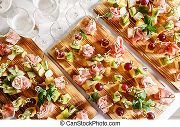 dessert, delizioso, anno, tavola, restaurant., bruschetta, ...