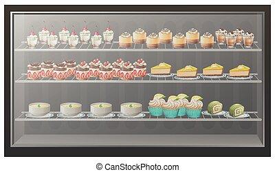 dessert, differente, generi, mensole