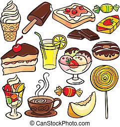 dessert, dolci, bibite, icona, set