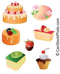 dessert, ensemble, doux, icônes