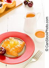 Dessert for Tea Background / Dessert for Tea / Fruit Pastry Dessert for Tea Background