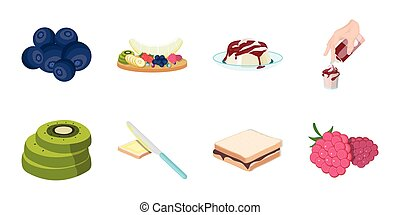 Dessert fragrant icons in set collection for design. Food and sweetness vector symbol stock web illustration.
