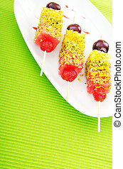 dessert frutta, in, il, piastra