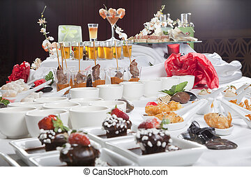 dessert, fusione, antipasti, asiatico, tavola