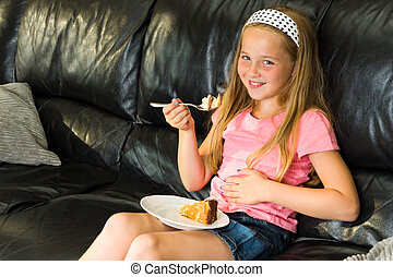 dessert, girl, jeune, mange