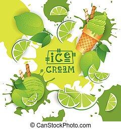 dessert, glace, coloré, crème, goûter, chaux, affiche