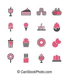 Dessert icon set in flat design .Vector illustration