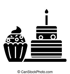 dessert icon, vector illustration, black sign on isolated background