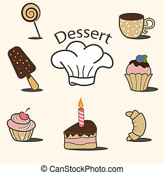 Dessert icons - Vector dessert icon set