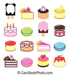 Dessert icons set - cake, macaroon,