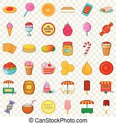 Dessert icons set, cartoon style