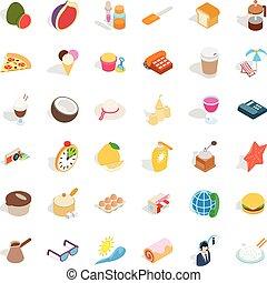 Dessert icons set, isometric style